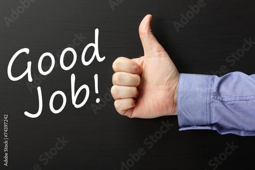 Fotografía  Thumbs up for Good Job done on a blackboard