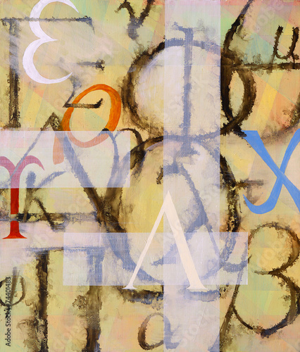 Photo  An abstract painting containing greek letters