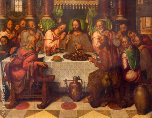 Bruges - The Last supper  in st. Giles church - 74402282