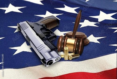Hand Gun with Gavel and Bullets on American Flag Tapéta, Fotótapéta