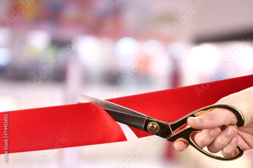 Fotografía  Grand opening, cutting red ribbon