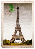 Fototapeta Fototapety z wieżą Eiffla - vecchia cartolina postale della Tour