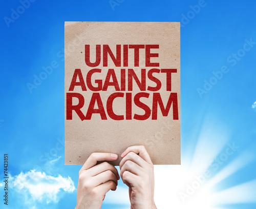 Fényképezés  Unite Against Racism card with sky background