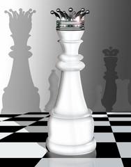 3d Schachfigur, Dame mit Schachbrett, hochglanz