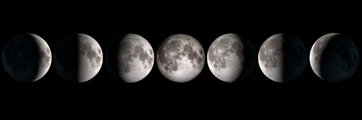 Moon phases panoramic collage, elements of this image are provided by NASA