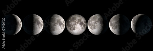 Moon phases panoramic collage, elements of this image are provided by NASA Canvas Print