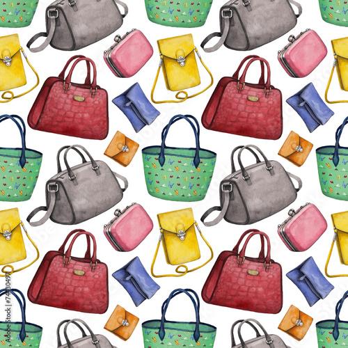 Watercolor Handbag Illustrations Seamless Pattern
