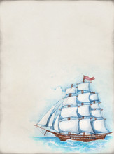 Watercolor Illustration Of Ship