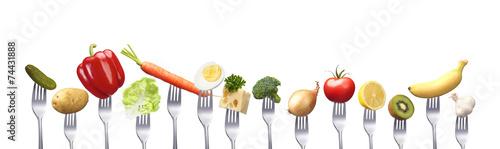 Foto op Plexiglas Verse groenten Reihe gesunder Lebensmittel
