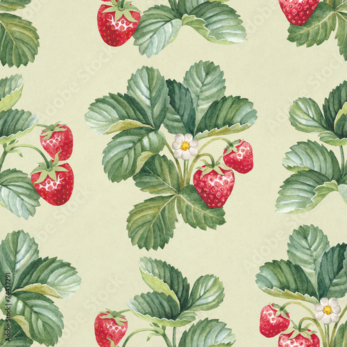 Seamless pattern with watercolor strawberry bush - 74437291
