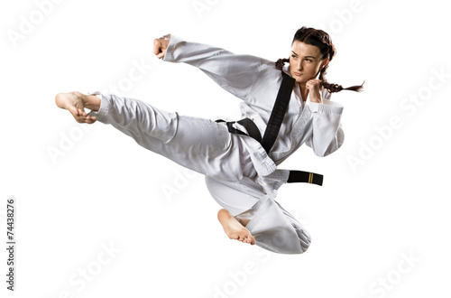 Poster Martial arts Professional female karate fighter isolated on white