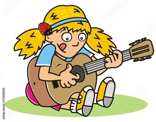 Fotobehang Indiërs guitarist, girl