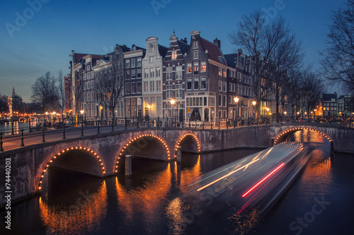 Spoed Foto op Canvas Amsterdam Amsterdam, Netherlands canals. Night view of Keizersgracht