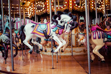 Old French Carousel In A Holid...