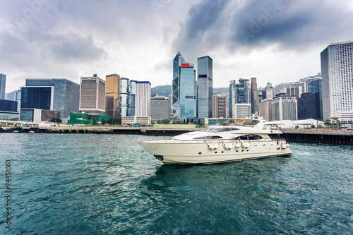 yacht,cityscape and victoria harbor of  hongkong Canvas