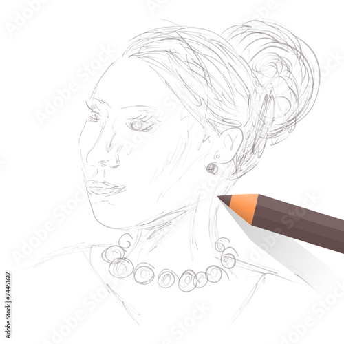 Fotografie, Obraz  skizze elegante frau