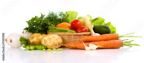 Deurstickers Verse groenten Garden vegetable isolated over white