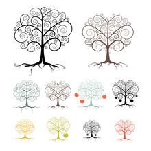 Trees Set Isolated On White Background
