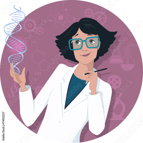 Fotografía  Female scientist with a DNA molecule