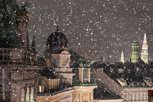 In de dag Wenen Vienna rooftops cityscape with snow