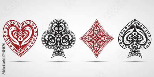 Photo  poker cards symbols grey background