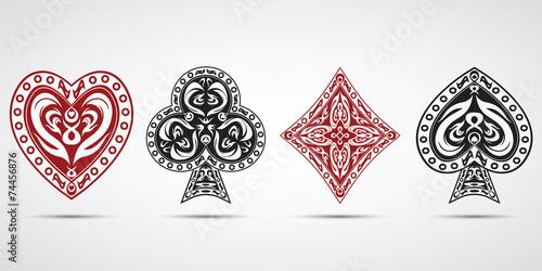 poker cards symbols grey background Canvas Print