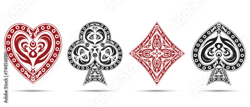 Photo  poker cards symbols isolated on white background