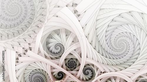 Obraz Symmetrical colorful fractal flower spiral, digital abstract - fototapety do salonu