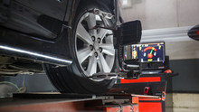 Car On Stand With Sensors On W...