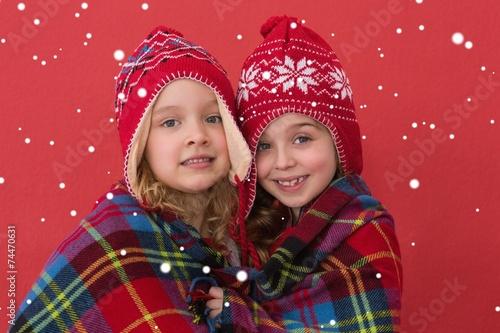 Spoed Fotobehang Carnaval Composite image of festive little girls smiling at camera