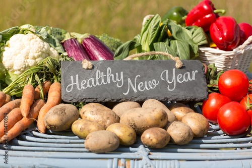 Fotografie, Obraz  Composite image of healthy new year