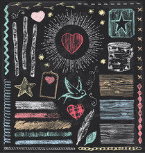Hand Drawn Vintage Nature And Wooden Chalk Elements