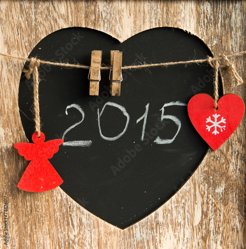 Papiers peints Affiche vintage 2015 written on a blackboard in form of heart with chalk cristma