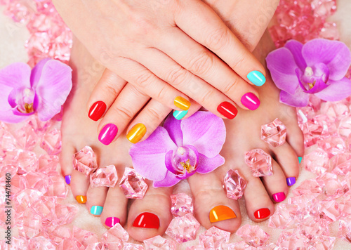Deurstickers Manicure Beautiful manicure and pedicure