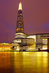 Fototapeta Wieżowce London shard at night in the UK