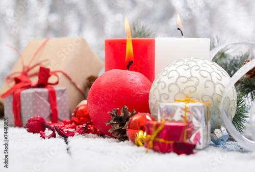 Fototapeta Christmas Decoration Over Wooden Background obraz na płótnie