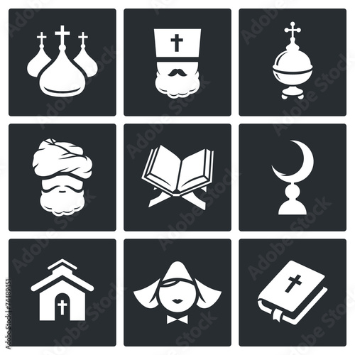 Fotografia, Obraz  Religion Icon set