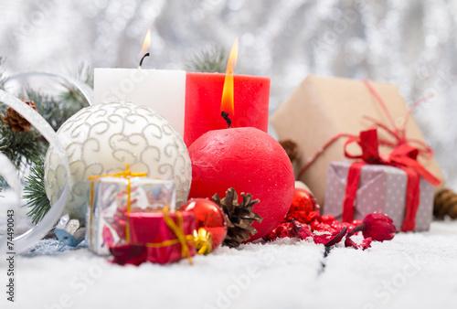 Fototapeta Christmas decoration hanging over wooden background obraz na płótnie