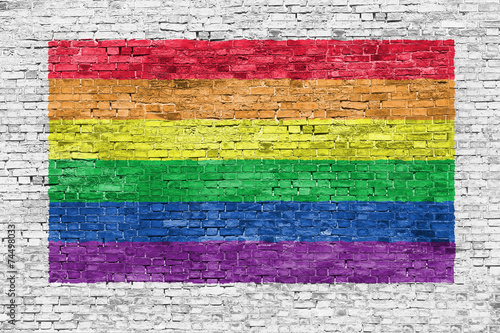 Rainbow flag painted over brick wall Wallpaper Mural