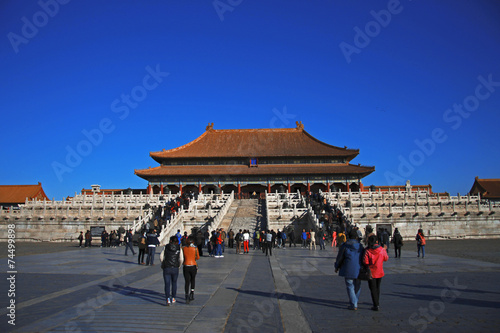 Photo Stands Temples of the Forbidden City in Beijing China