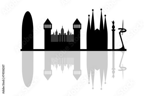 silhouette of barcelona Canvas Print