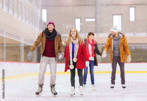 Fotomural happy friends on skating rink