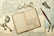 open book, vintage accessories, old letters and postcards