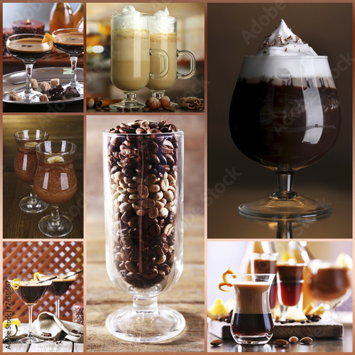 Spoed Foto op Canvas Chocolade Coffee cocktails collage
