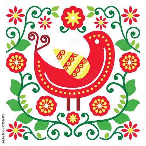 Folk art vector pattern with bird and flowers