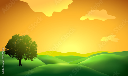Poster Oranje landscape background with tree silhouette