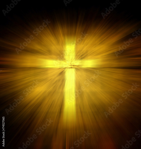 Christian religious cross with yellow light ray Canvas Print