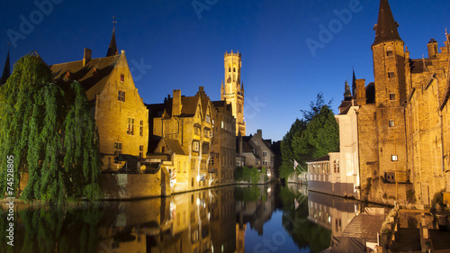 Wall Murals Bridges View of the Belfort and one of the canals of Bruges at night (Be