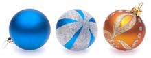 Blue, Blue-silver, Orange Christmas Balls On White Background