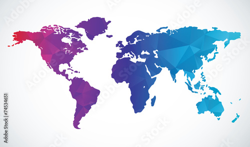 Fotografie, Obraz  Abstract world map